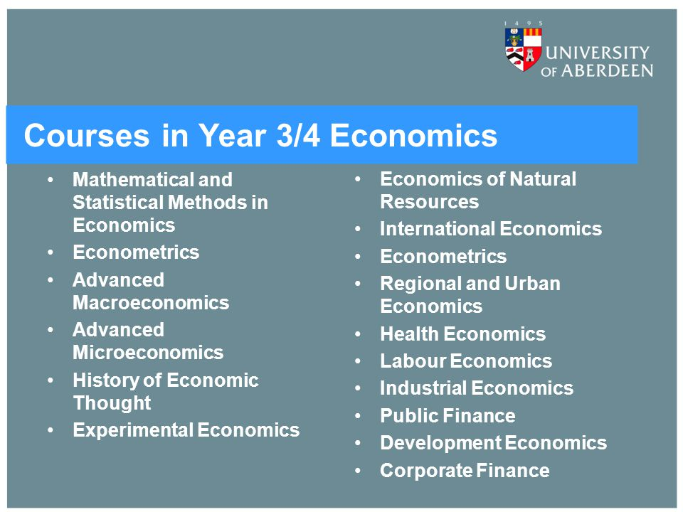 Courses in Year 3/4 Economics