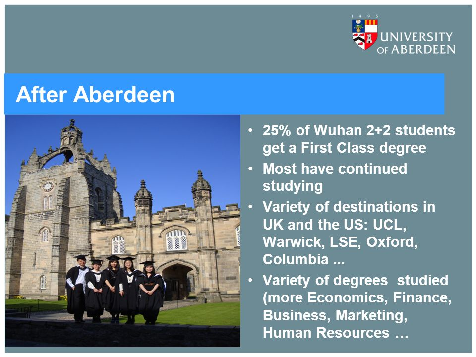 After Aberdeen 25% of Wuhan 2+2 students get a First Class degree