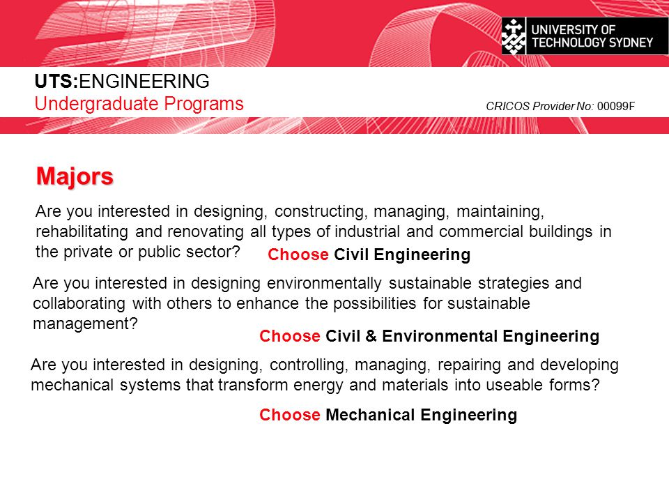 Majors UTS:ENGINEERING