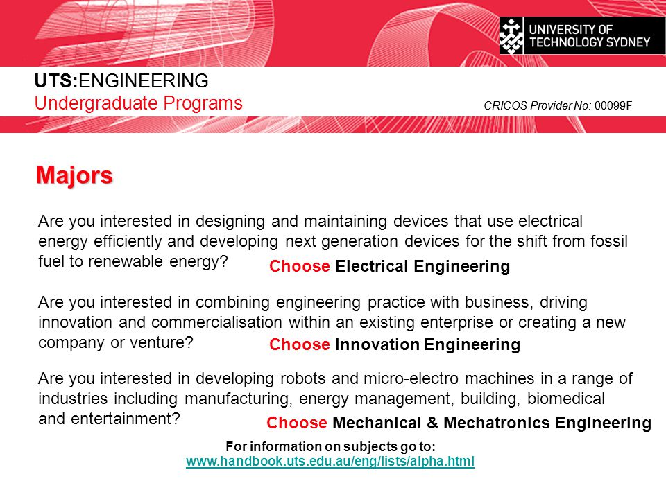Majors UTS:ENGINEERING
