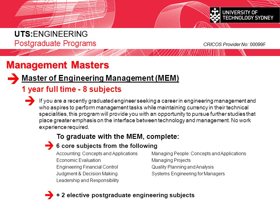Management Masters UTS:ENGINEERING