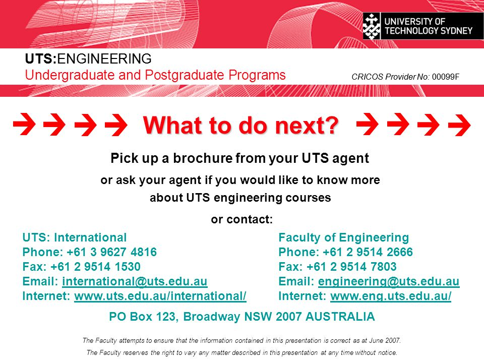 What to do next UTS:ENGINEERING