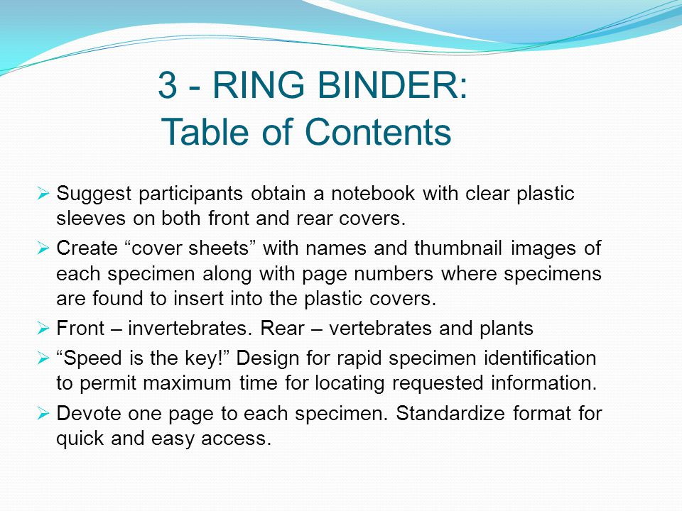 3 - RING BINDER: Table of Contents