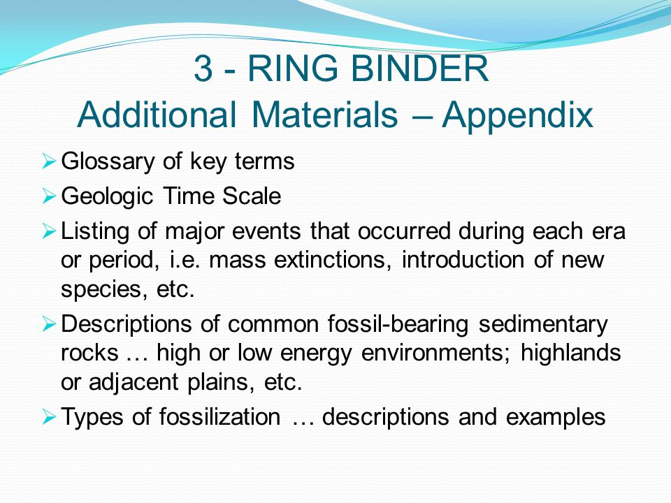 3 - RING BINDER Additional Materials – Appendix