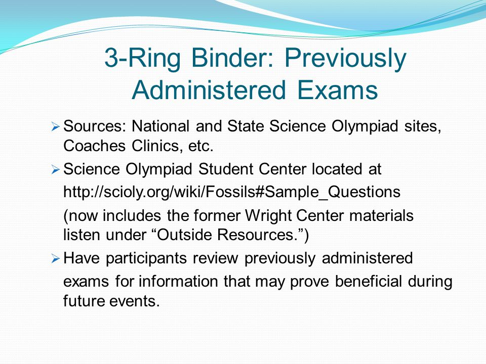3-Ring Binder: Previously Administered Exams
