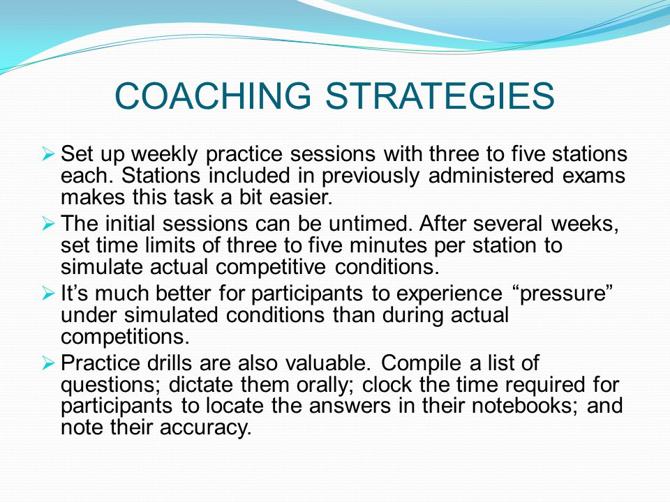 COACHING STRATEGIES