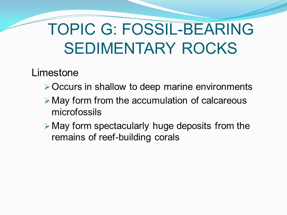 TOPIC G: FOSSIL-BEARING SEDIMENTARY ROCKS