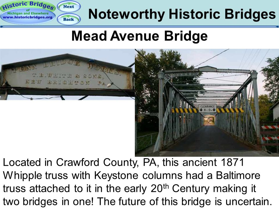 Bridges - Mead Noteworthy Historic Bridges Mead Avenue Bridge