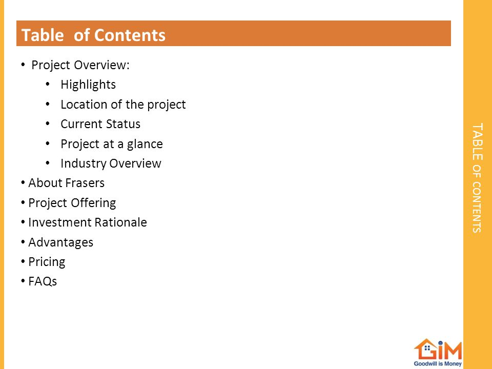 Table of Contents TABLE of contents Project Overview: Highlights