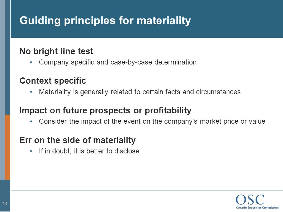 Guiding principles for materiality