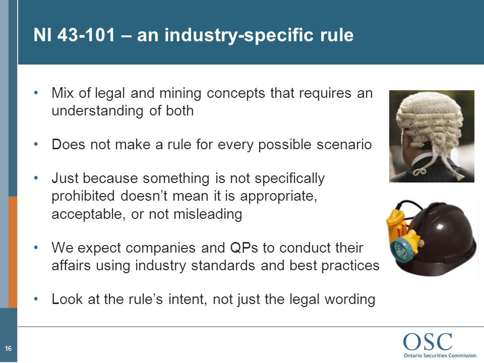 NI 43-101 – an industry-specific rule