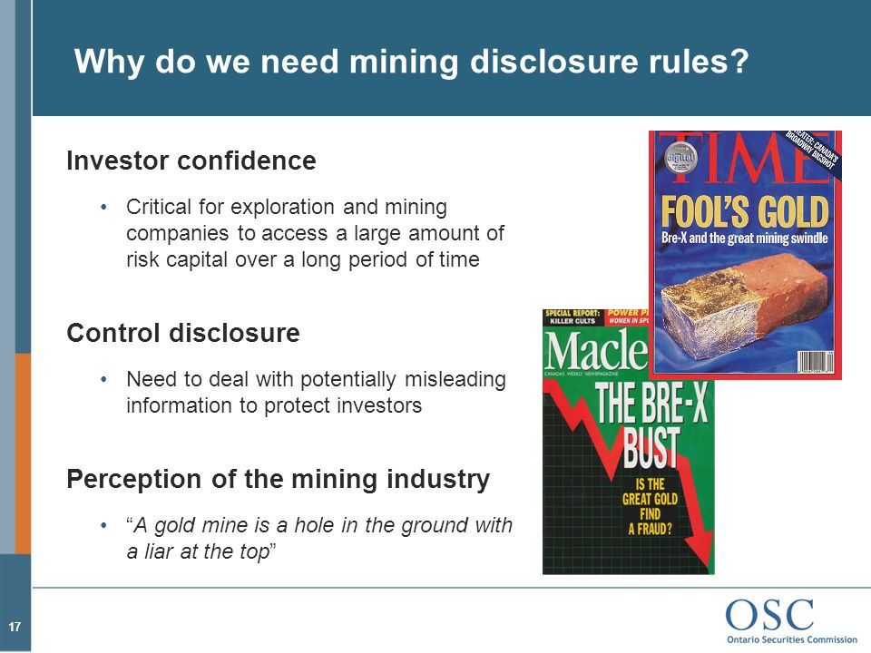 Why do we need mining disclosure rules