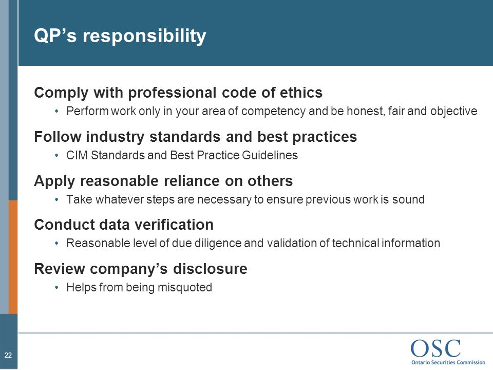 QP's responsibility Comply with professional code of ethics