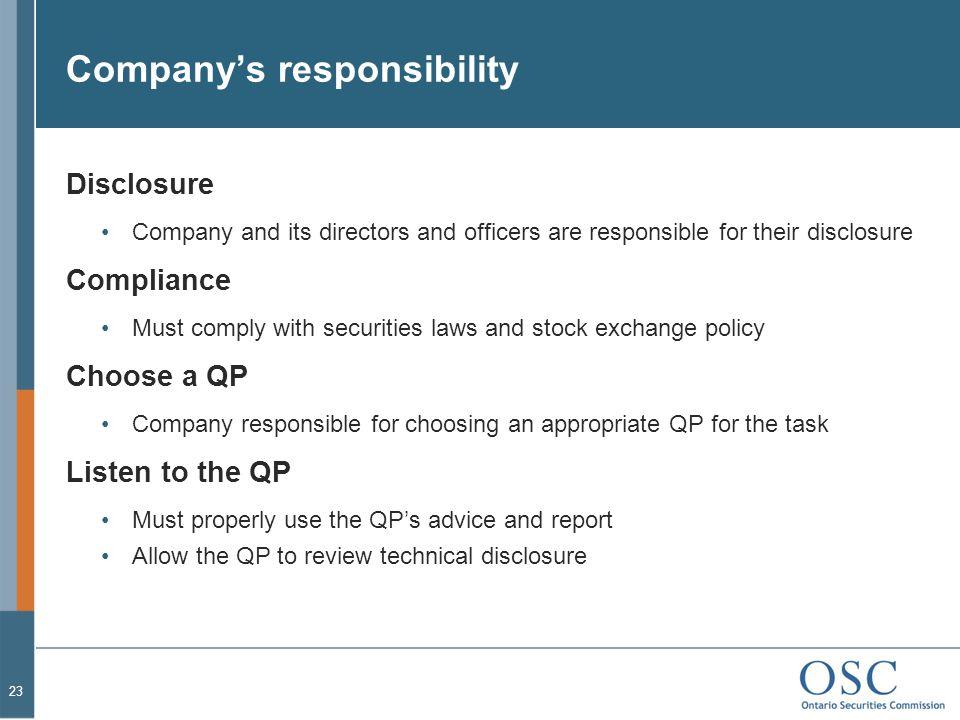 Company's responsibility