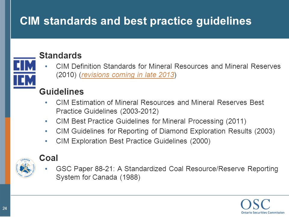 CIM standards and best practice guidelines
