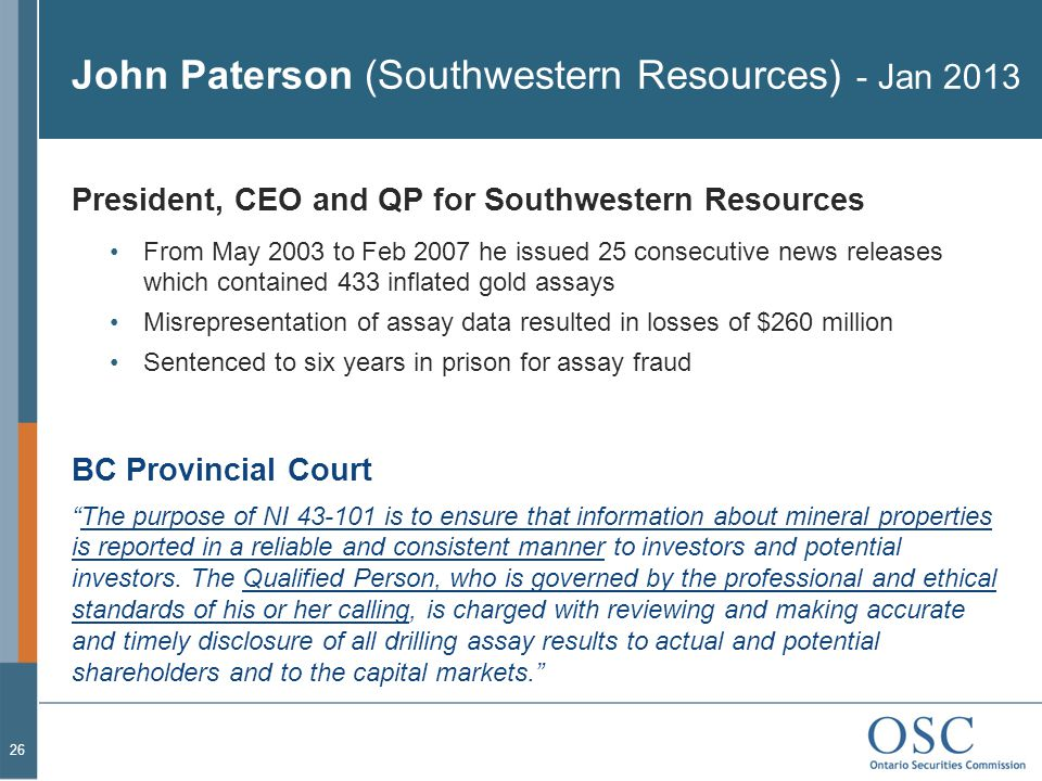 John Paterson (Southwestern Resources) - Jan 2013