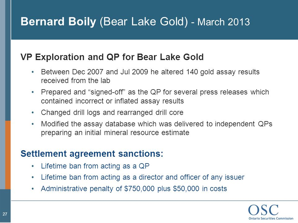 Bernard Boily (Bear Lake Gold) - March 2013