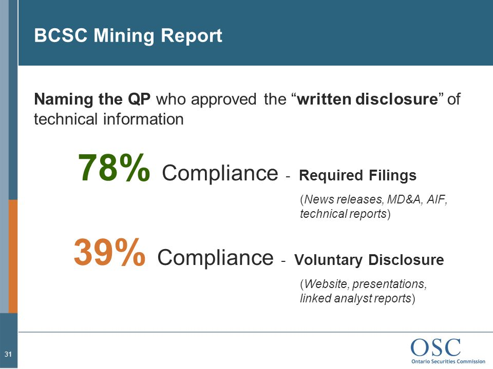 BCSC Mining Report Naming the QP who approved the written disclosure of technical information.