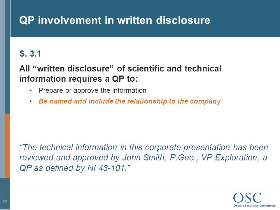 QP involvement in written disclosure
