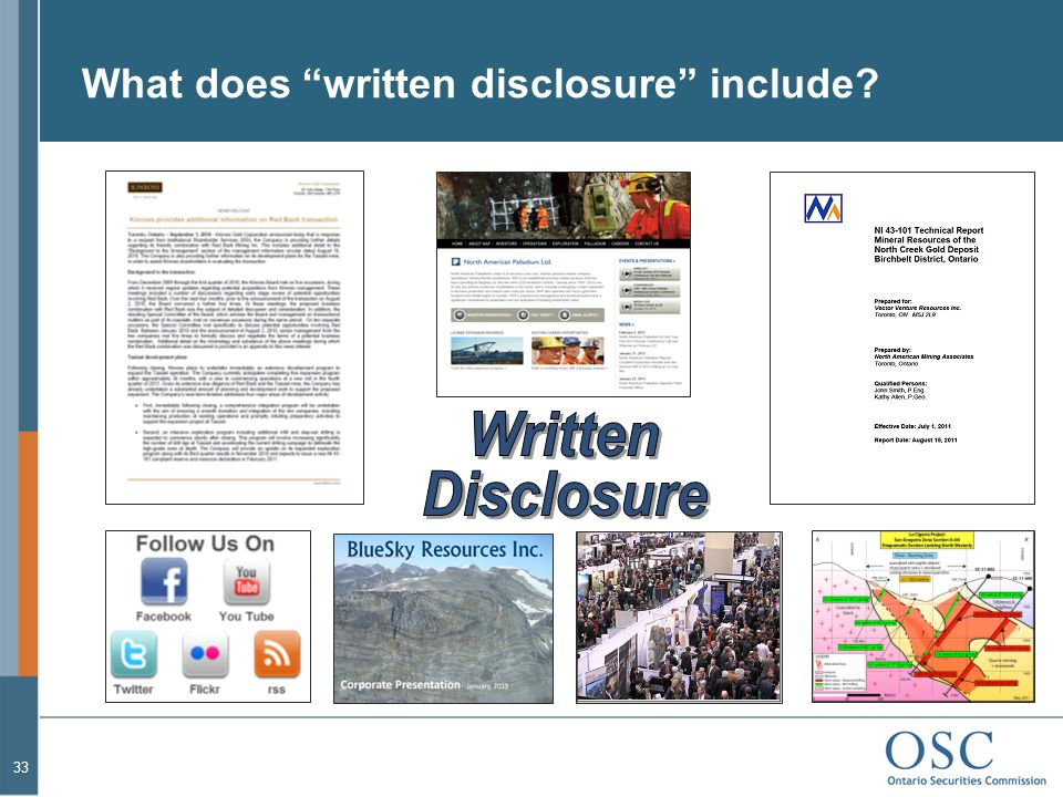 What does written disclosure include