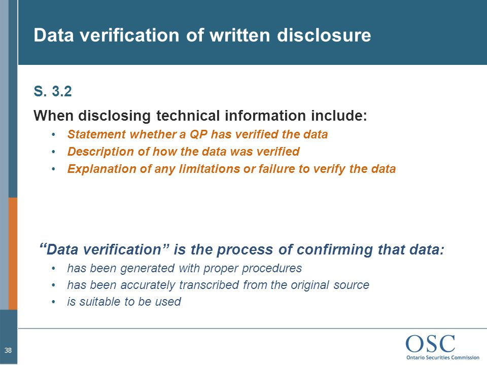 Data verification of written disclosure