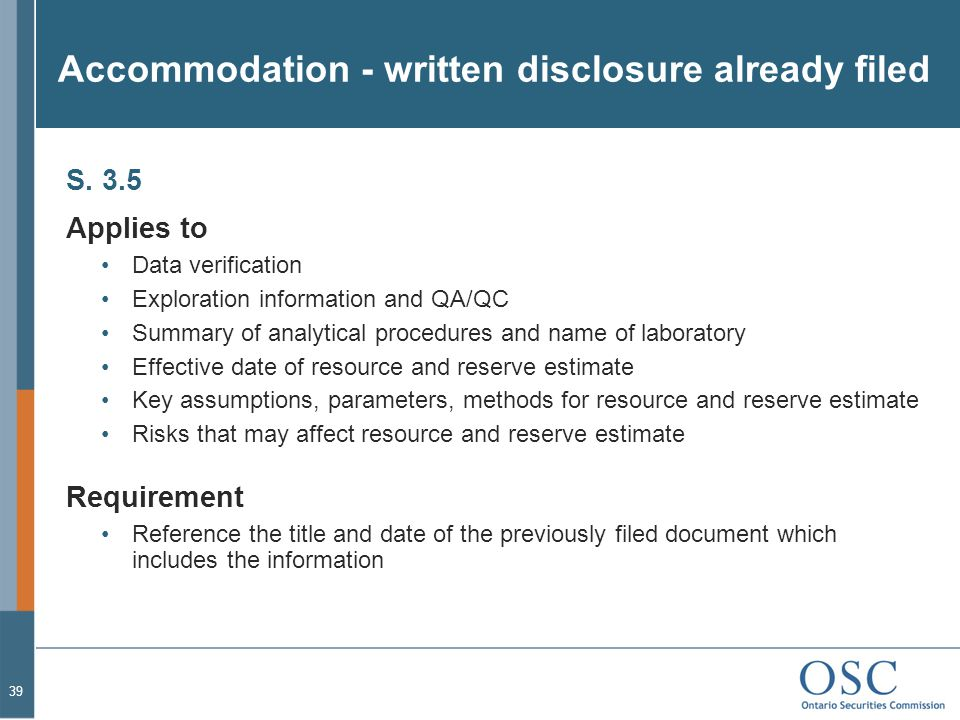 Accommodation - written disclosure already filed