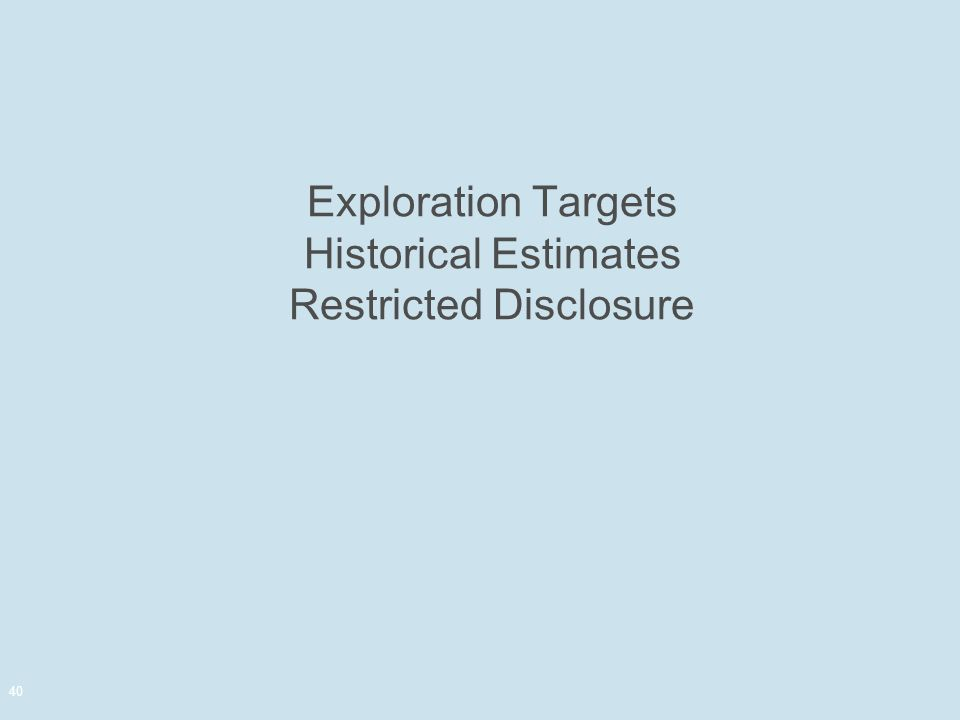 Exploration Targets Historical Estimates Restricted Disclosure