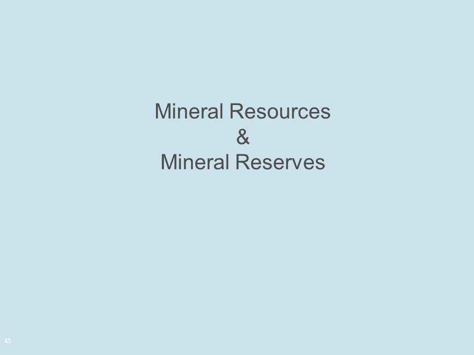 Mineral Resources & Mineral Reserves