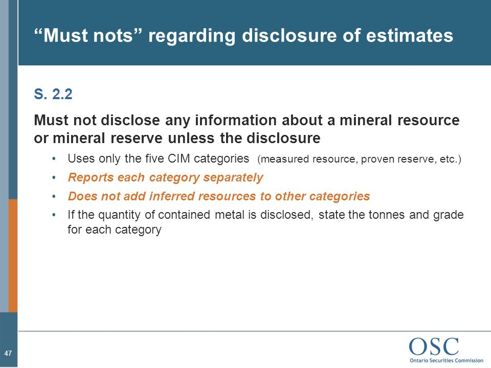 Must nots regarding disclosure of estimates