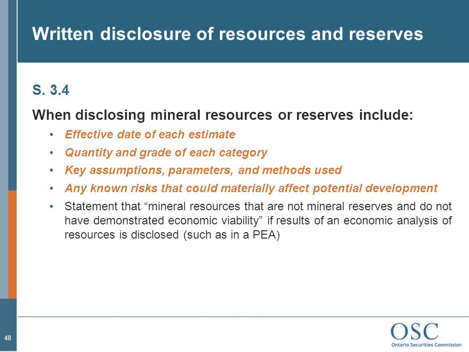 Written disclosure of resources and reserves