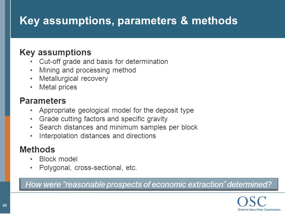 Key assumptions, parameters & methods