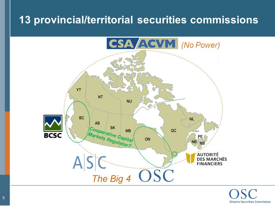 13 provincial/territorial securities commissions