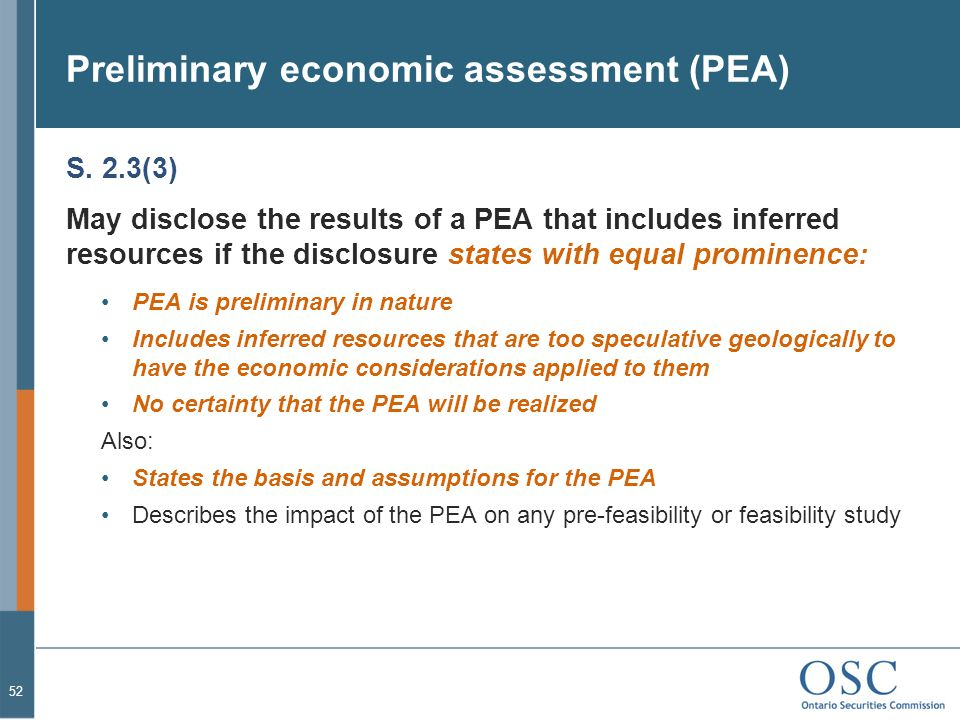 Preliminary economic assessment (PEA)