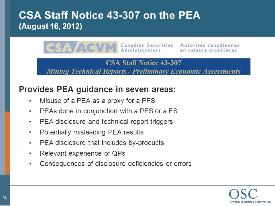 CSA Staff Notice 43-307 on the PEA (August 16, 2012)