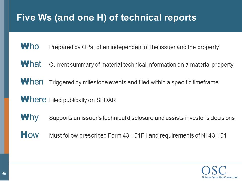 Five Ws (and one H) of technical reports