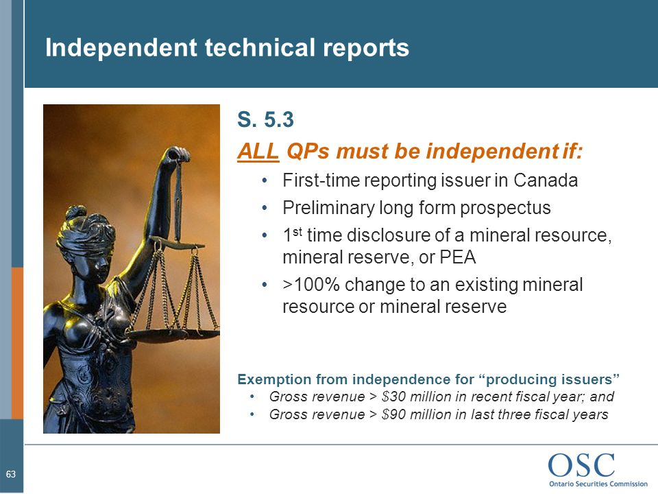 Independent technical reports