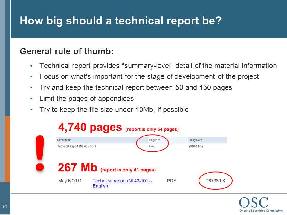 How big should a technical report be