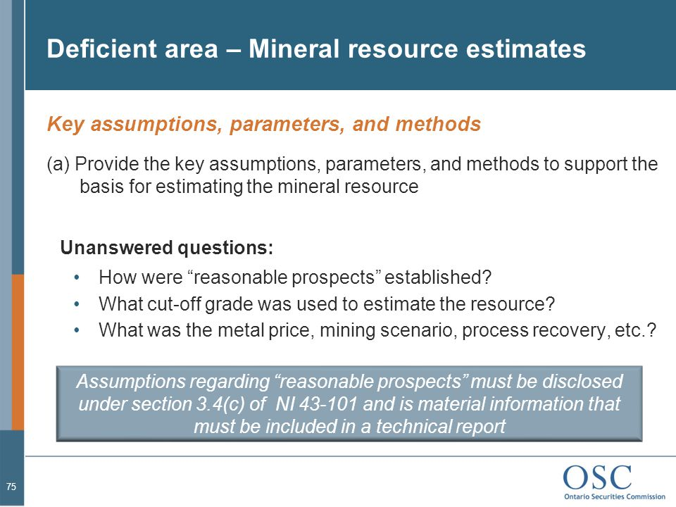 Deficient area – Mineral resource estimates