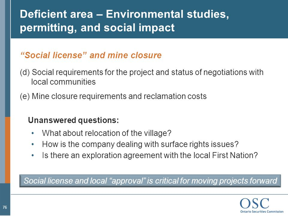 Deficient area – Environmental studies, permitting, and social impact