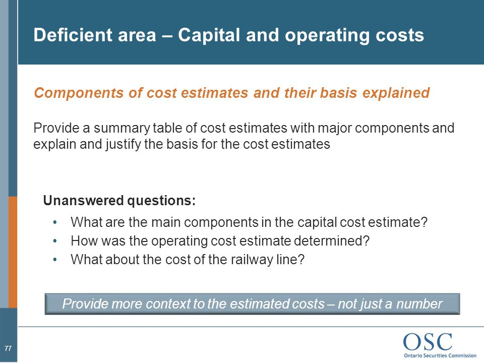 Deficient area – Capital and operating costs