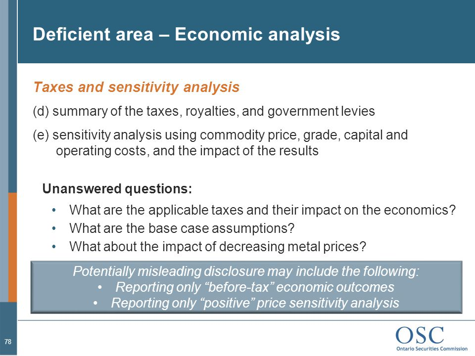 Deficient area – Economic analysis
