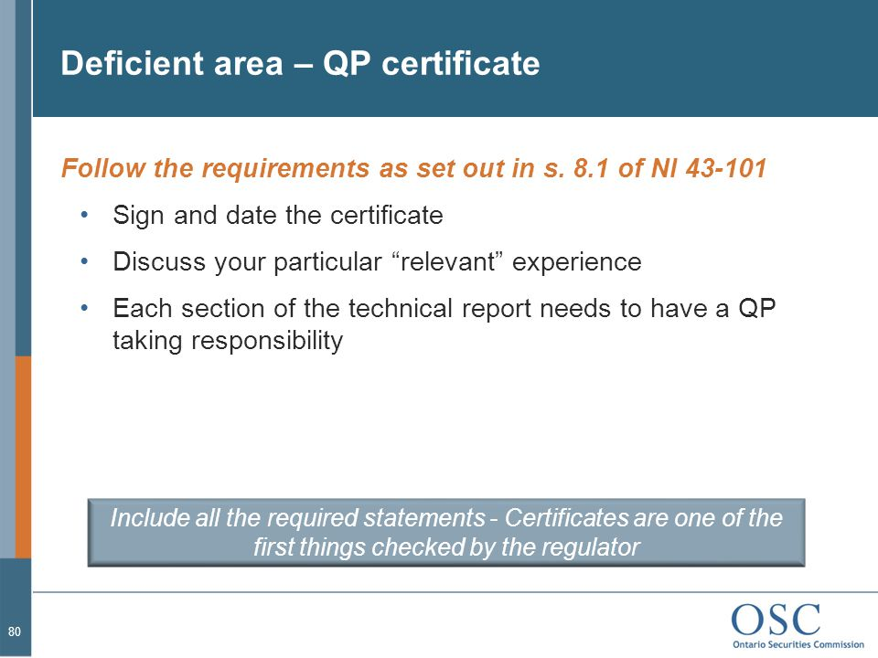 Deficient area – QP certificate