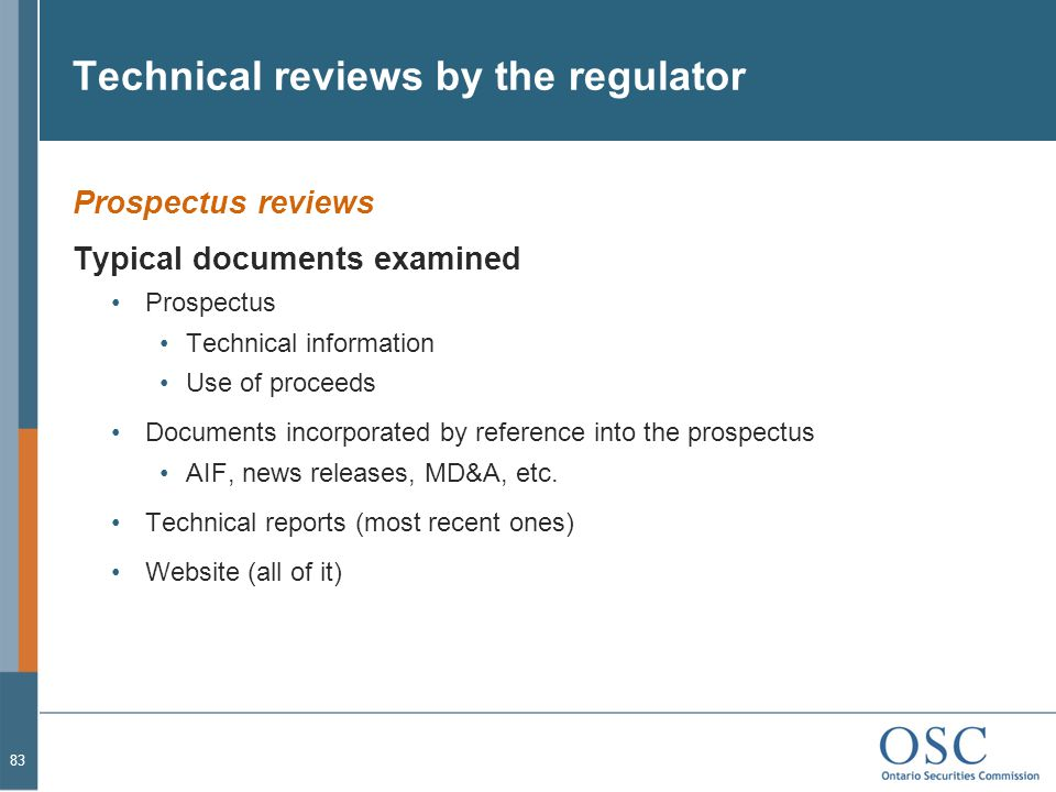 Technical reviews by the regulator