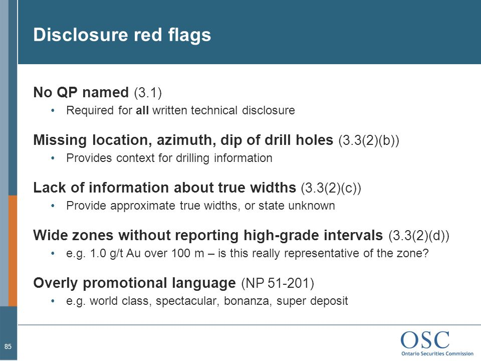 Disclosure red flags No QP named (3.1)