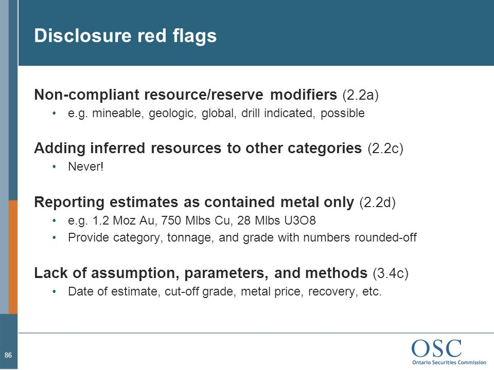 Disclosure red flags Non-compliant resource/reserve modifiers (2.2a)