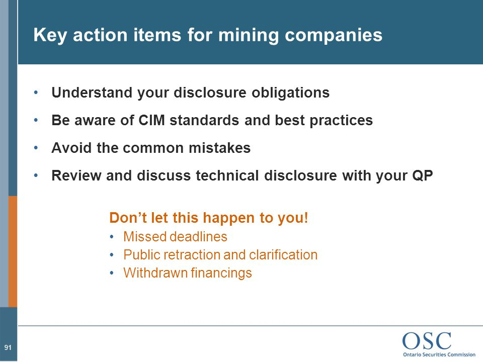 Key action items for mining companies