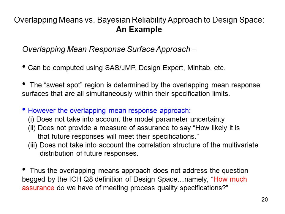 Overlapping Means vs. Bayesian Reliability Approach to Design Space:
