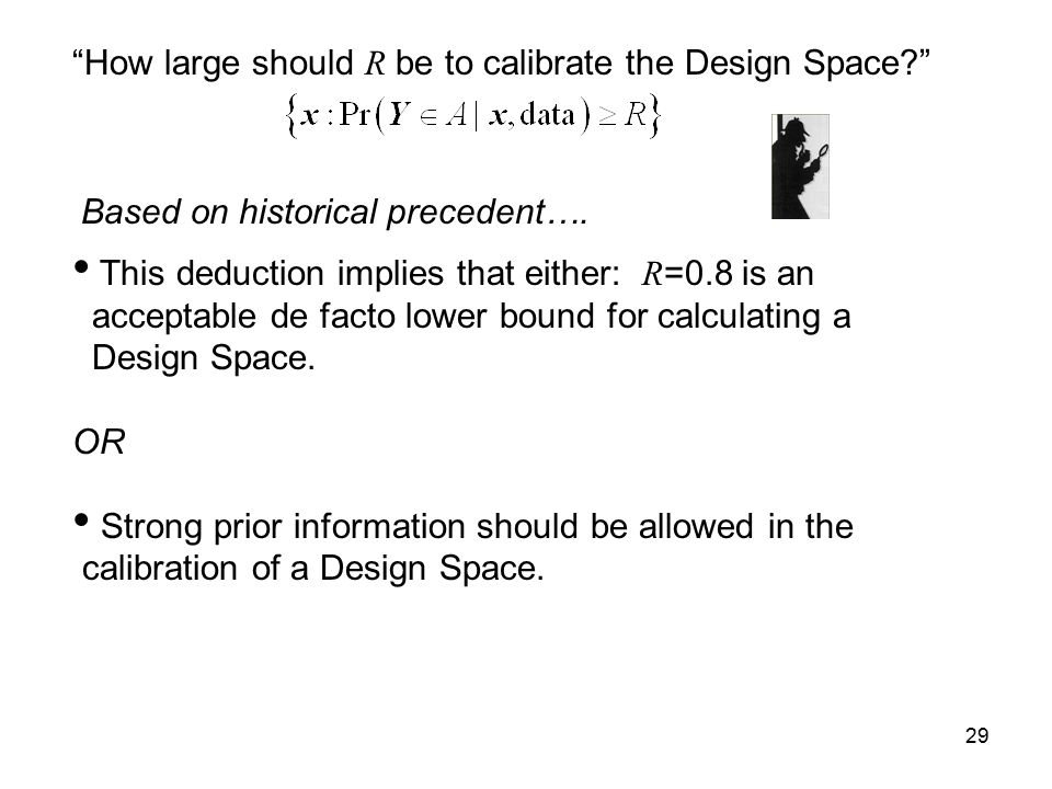 How large should R be to calibrate the Design Space