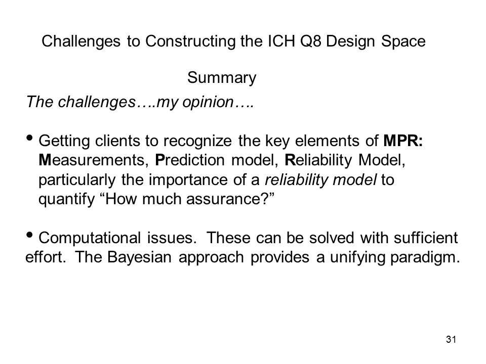 Challenges to Constructing the ICH Q8 Design Space