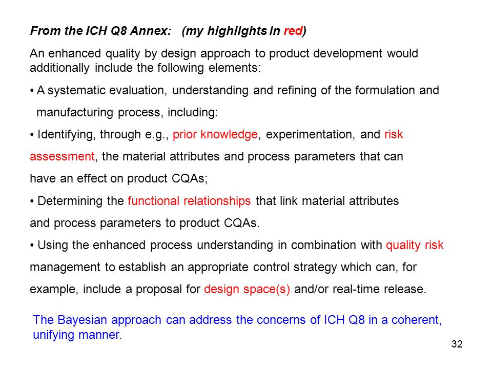 From the ICH Q8 Annex: (my highlights in red)